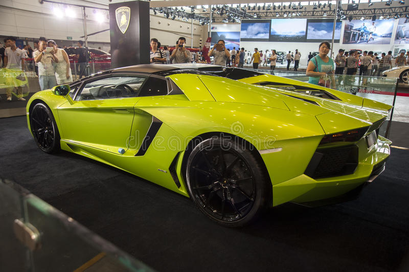 Green lamborghini roadster car. In 2014 central china international auto expo royalty free stock images