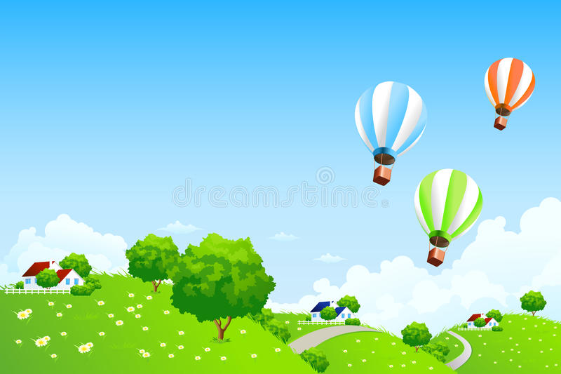 Green Landscape with Balloons vector illustration