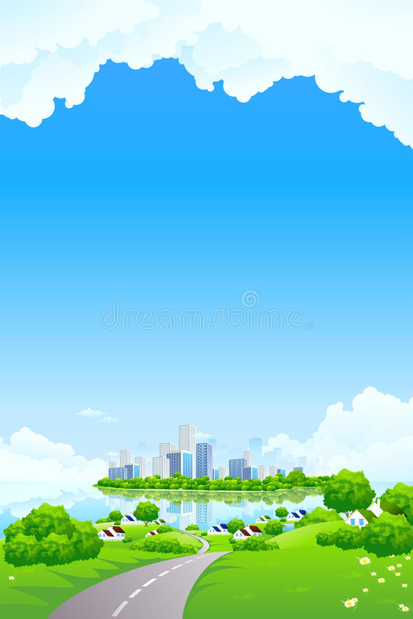 Green Landscape with business island stock photo
