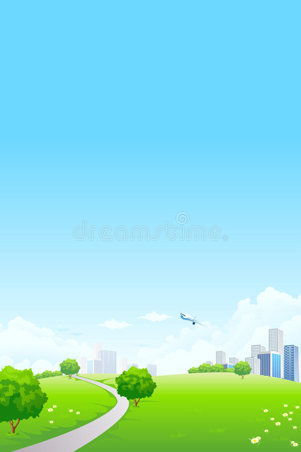 Green landscape with city stock images