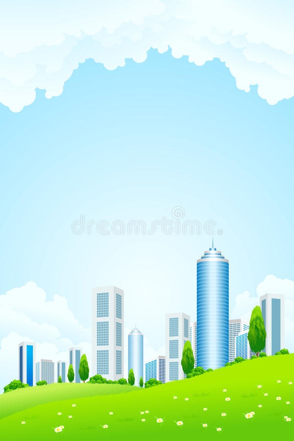 Green landscape with city royalty free stock photography