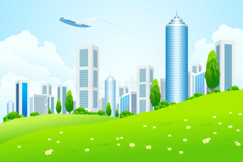 Green landscape with city royalty free stock images