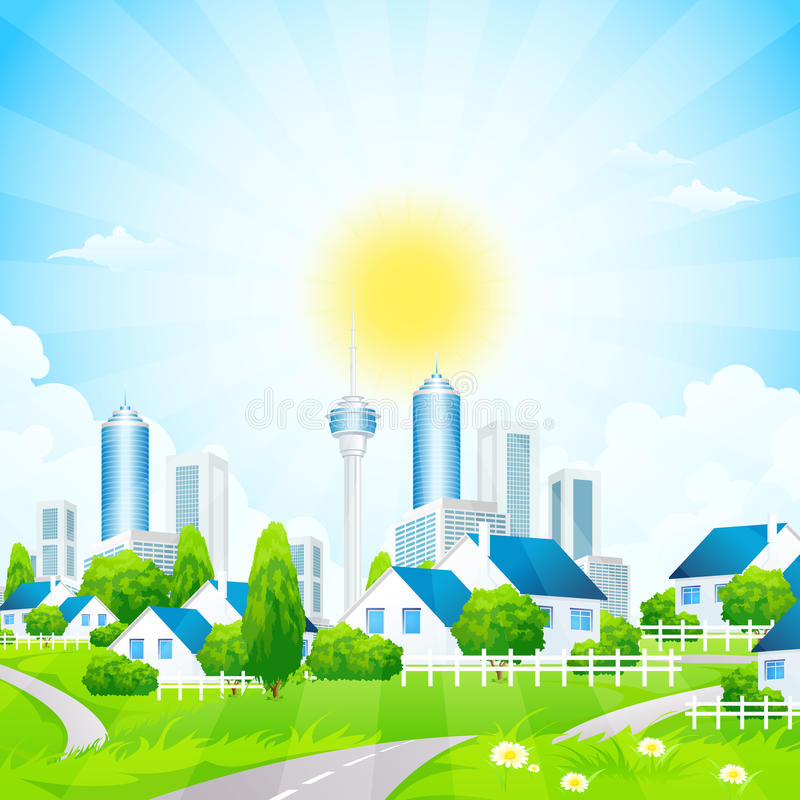 Green Landscape with City and Village. Green Landscape with road, grass, City and Village stock illustration