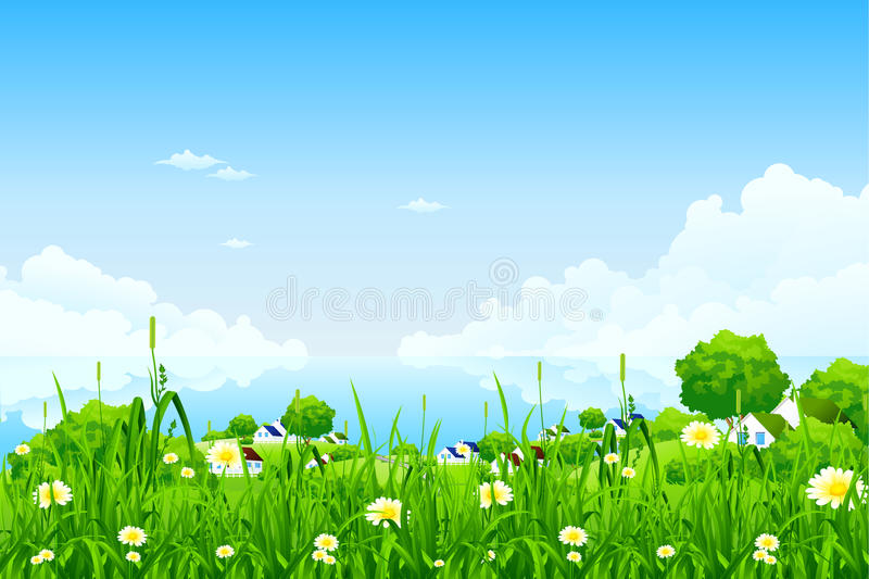 Green Landscape with clouds royalty free stock image