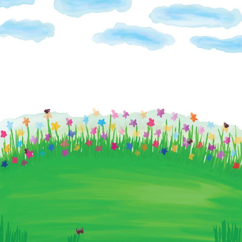 Green landscape flower pastel watercolor stock illustration