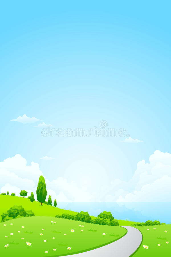 Download Green Landscape With Flowers Stock Vector - Illustration of tree, nature: 26381918