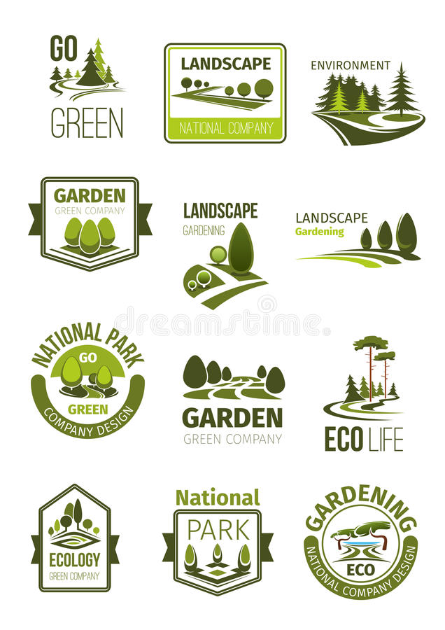 Green landscape and gardening company vector icons royalty free illustration