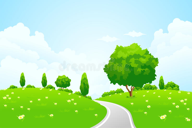 Green Landscape with hill tree road and flowers stock image