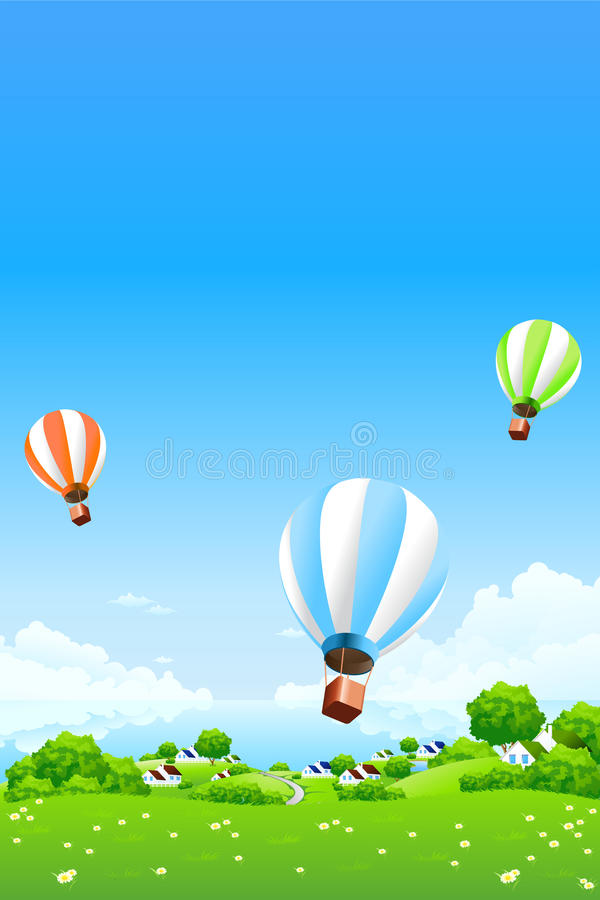 Green Landscape with Hot Air Balloons stock image