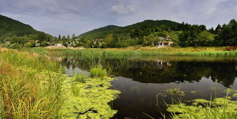 Green landscape with mining lake. Place: near city Banska Stiavnica (world heritage) - Slovakia royalty free stock images