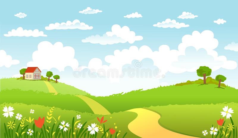 Green Landscape and the road royalty free illustration