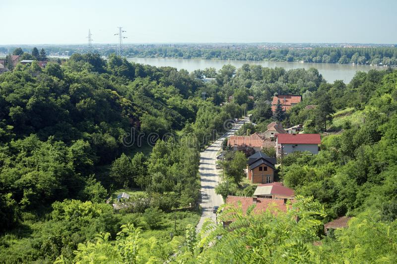 Green landscape Serbia. Landscape of Serbia with greenery and Danube river, hilly nature stock photo