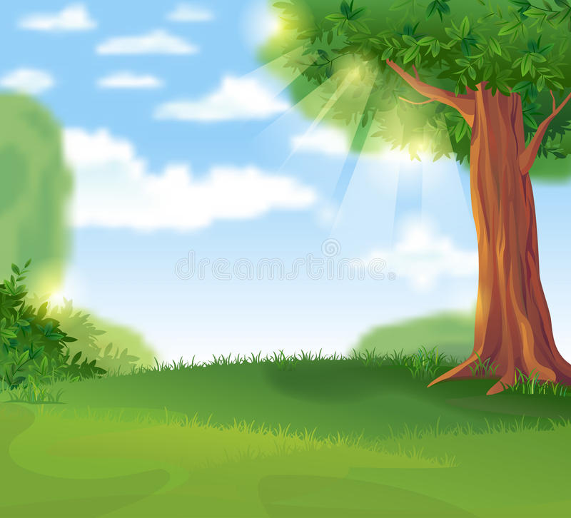 Green Landscape in the summer sunny day. Cozy green lawn under a shady tree in the summer sunny day, vector illustration royalty free illustration