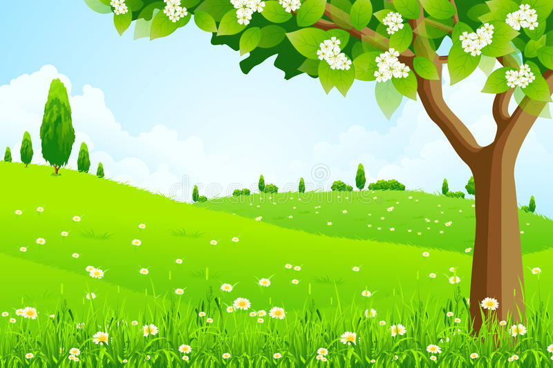 Download Green Landscape with  Tree stock vector. Image of grass - 24918982