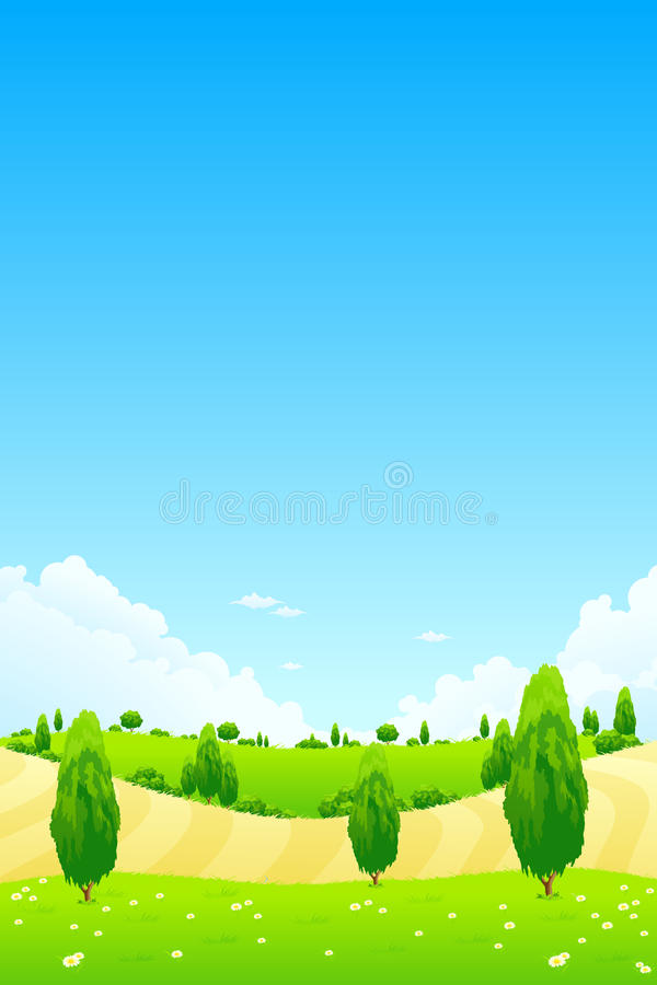 Green Landscape with Trees royalty free illustration