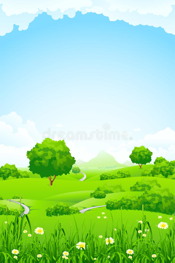 Green Landscape with trees and mountain royalty free stock images