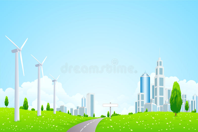 Green Landscape With Wind Power Station Stock Photos