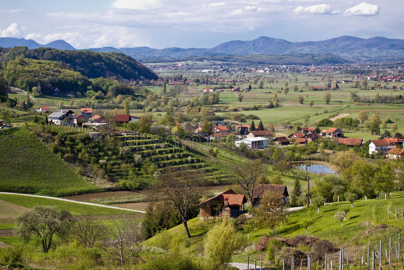 Green landscape of Zagorje region. In Marija Bistrica stock photography