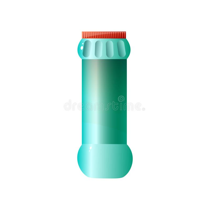 Green large volume plastic container cleansing dry powder cylindrical shape with red cap isolated on white background. Green large volume plastic container stock illustration