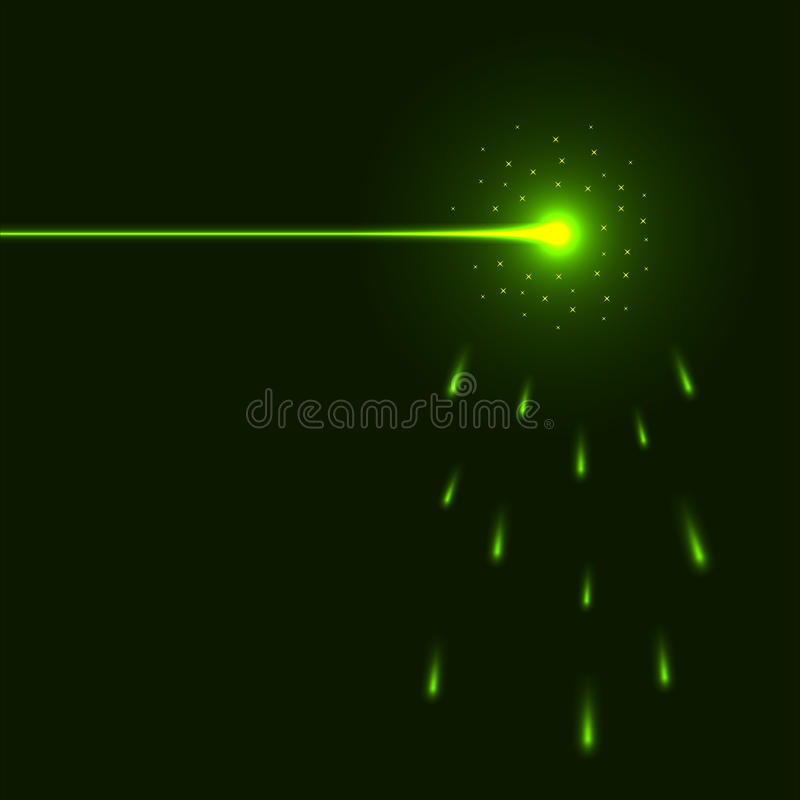 Green laser beam. Background with copy space