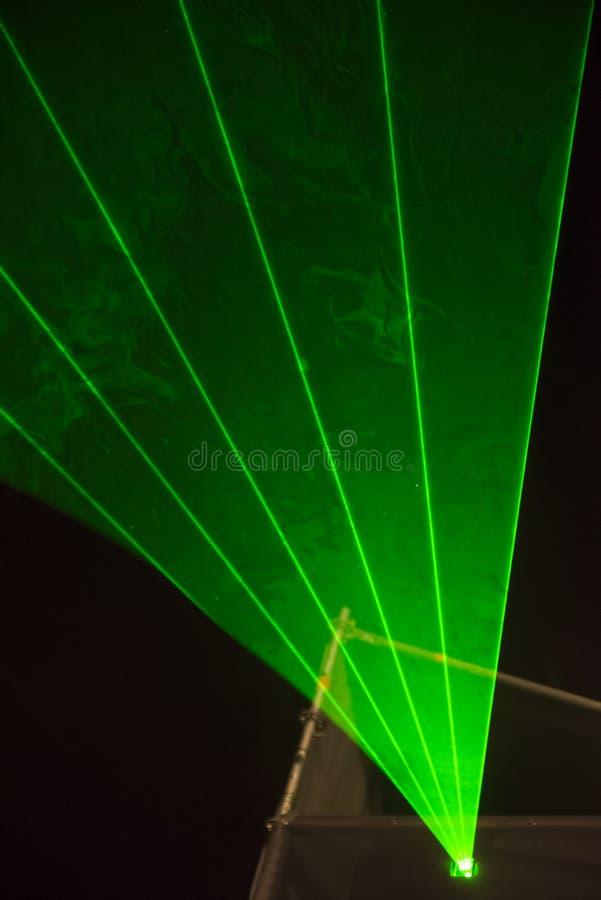 Green laser beams royalty free stock photo