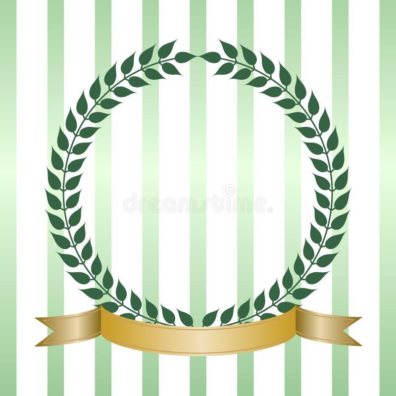 Green Laurel Wreath With Banner vector illustration