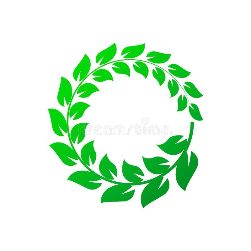 Green laurel wreath on white background. Vector Illustration royalty free illustration