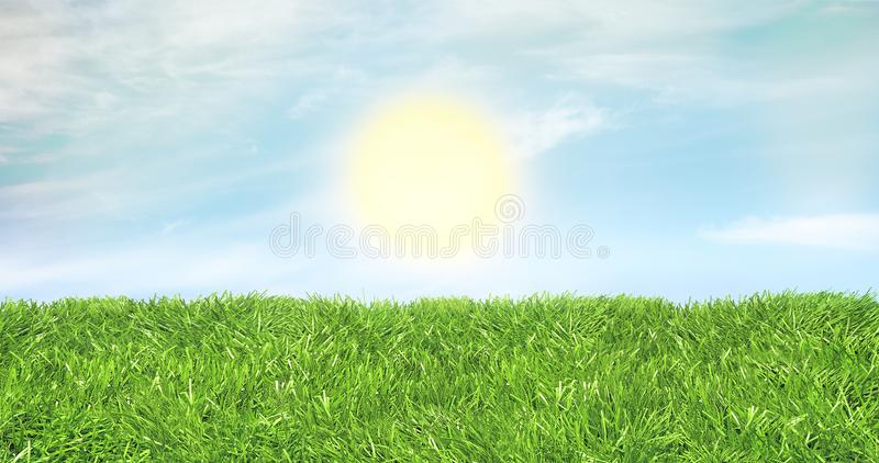 Green lawn against a friendly sky and sun rising stock photos
