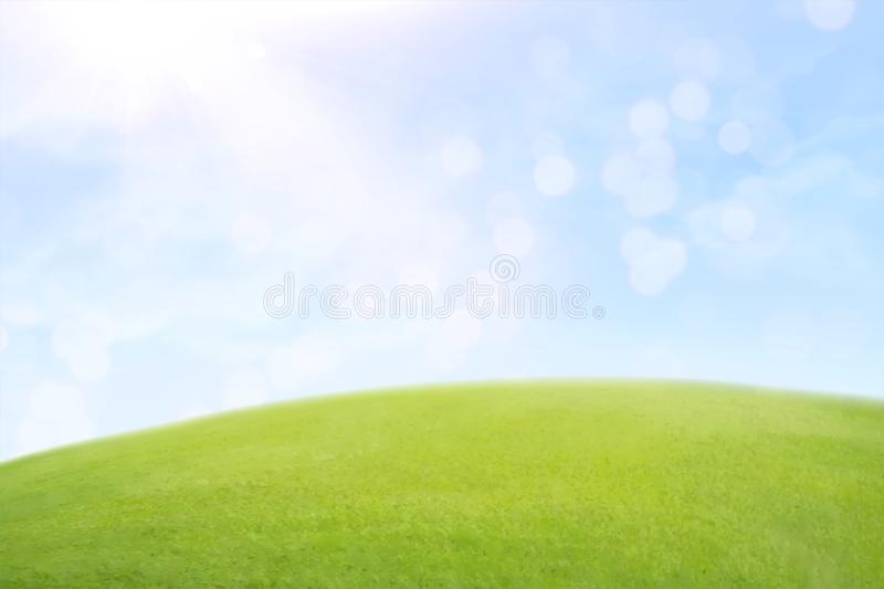 Green lawn and blue sky. Green lawn and bokeh blue sky in 3d illustration royalty free illustration
