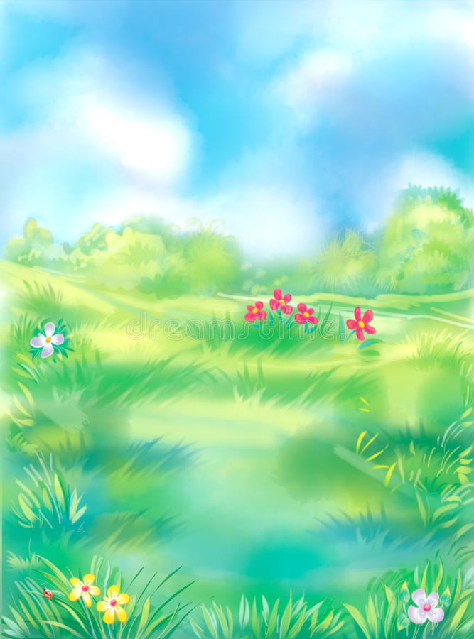 Green lawn. Colorful illustration of the summer meadow stock illustration