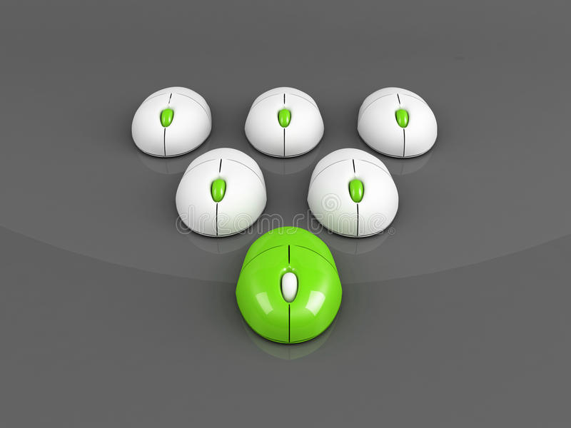 Green Leading Computer Mouse Over Grey Stock Photography