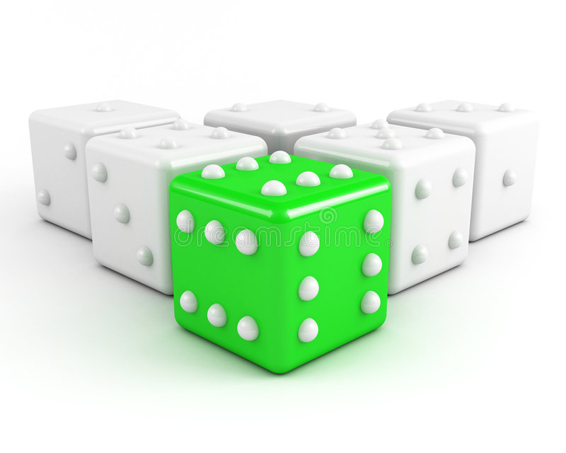 Green leading dice. Winning leadership concept vector illustration