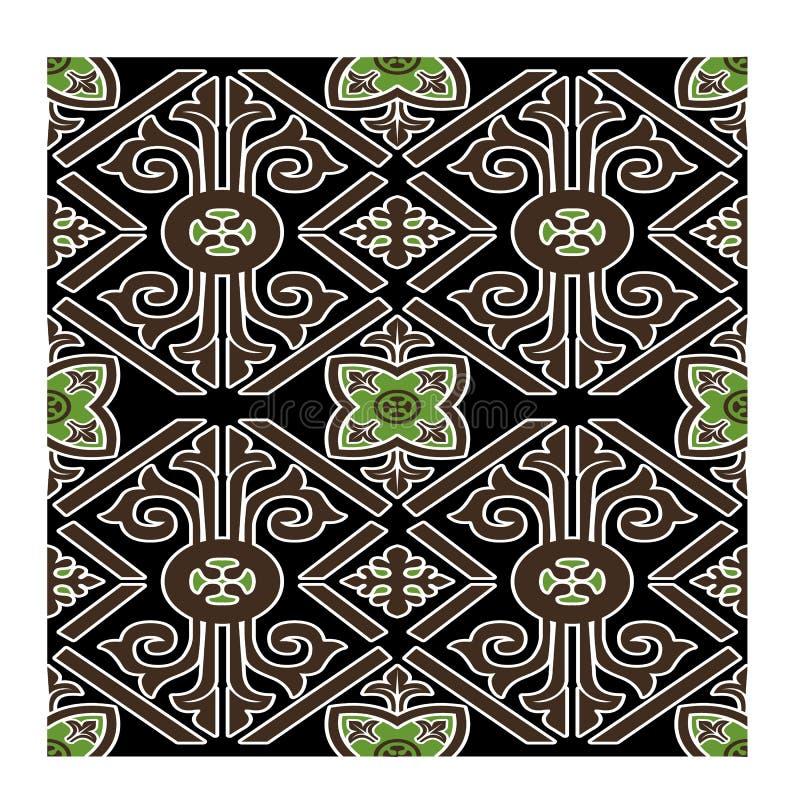Green leaf Batik seamless vector background for fashion textile print. royalty free stock photo