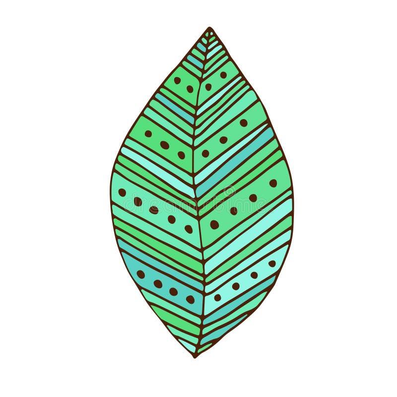 Green Leaf badge. T-shirt print design. Tattoo color art. royalty free illustration