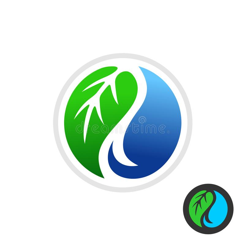 Green leaf and blue water drop symbol royalty free illustration