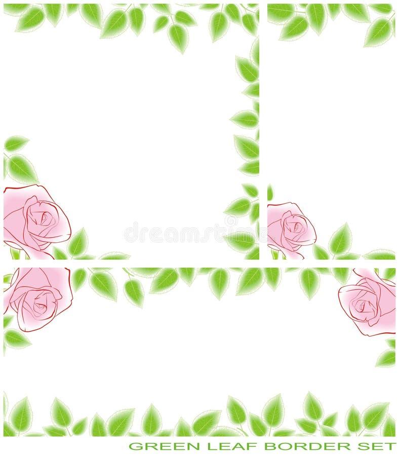 Green leaf border set royalty free illustration