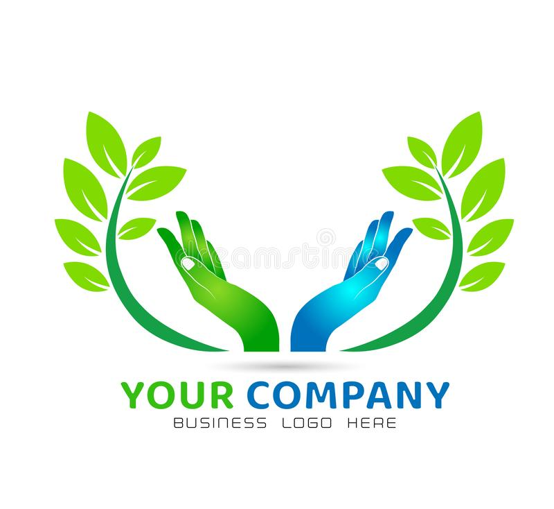 Green leaf branch hands icon family union, love care in hands logo stock illustration