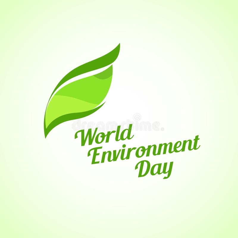 Green Leaf on Bright Background, Vector Illustration - World Environment Day Emblem with Caption. Green Leaf on White Background - Vector Illustration, World vector illustration