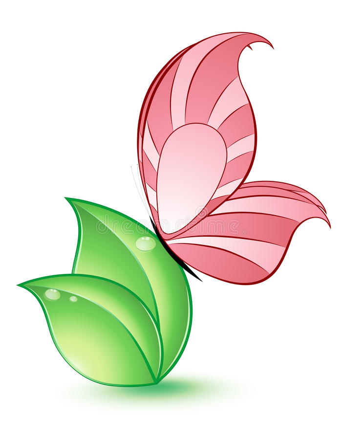 Green leaf with butterfly. Vector illustration vector illustration