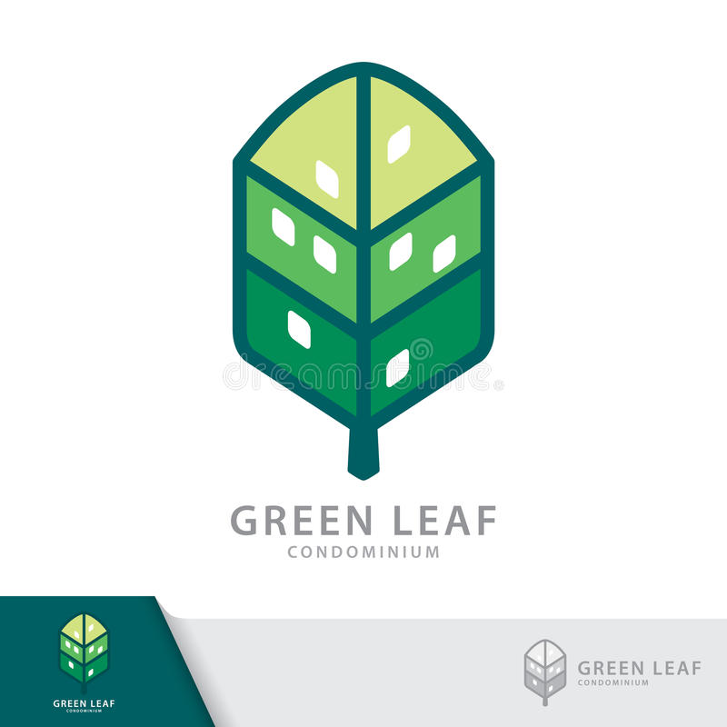 Green leaf condominium logo. Green leaf condominium logo template design elements, Real Estate symbols icon. Vector illustration, Sustainability construction royalty free illustration