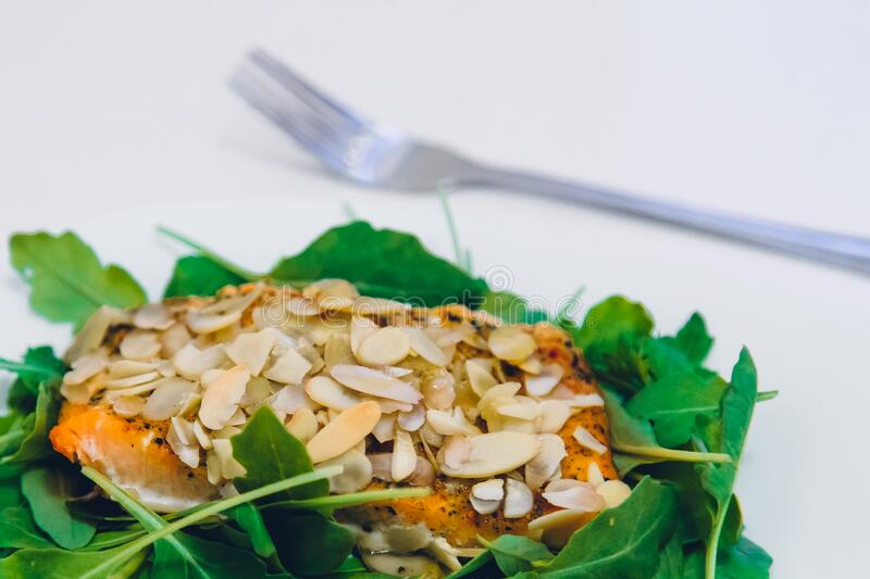Green Leaf Covering Meat With Sesame Seeds With A Fork On The Side Free Public Domain Cc0 Image