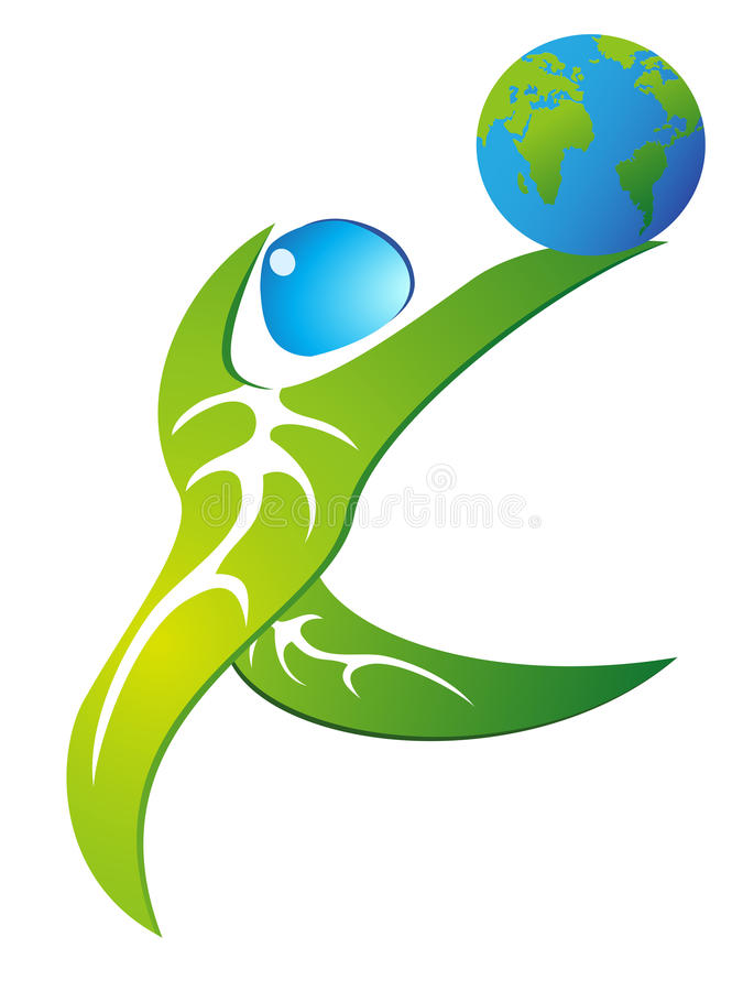 Green leaf figure dancing with globe. Green leaf people holding a globe and dancing vector illustration