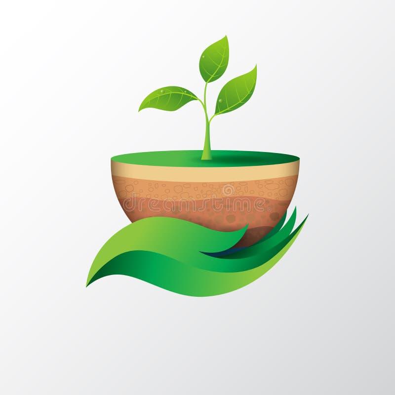 Green leaf in hand shape holding sapling. vector illustration