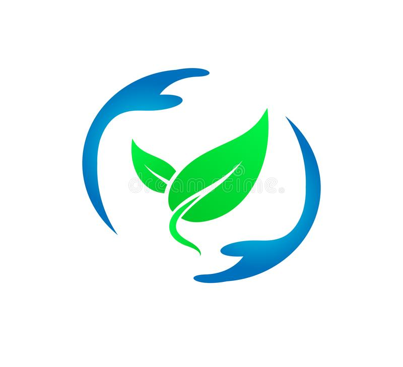 Green leaf in hands new trendy vector icon for vegan, bio eco design. royalty free illustration