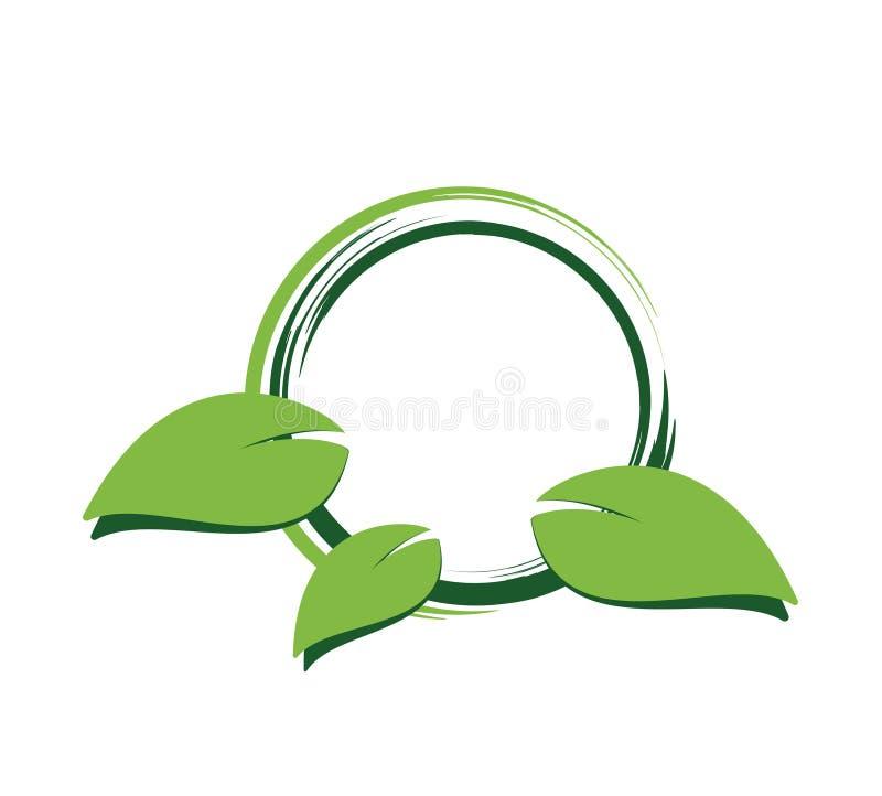 Green leaf label royalty free illustration
