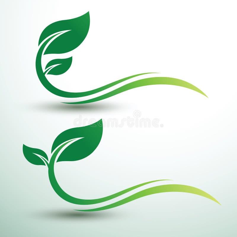 Green leaf labels. Green labels concept with leaves ,vector illustration royalty free illustration