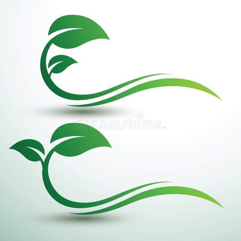 Green leaf labels. Green labels concept with leaves ,vector illustration stock illustration