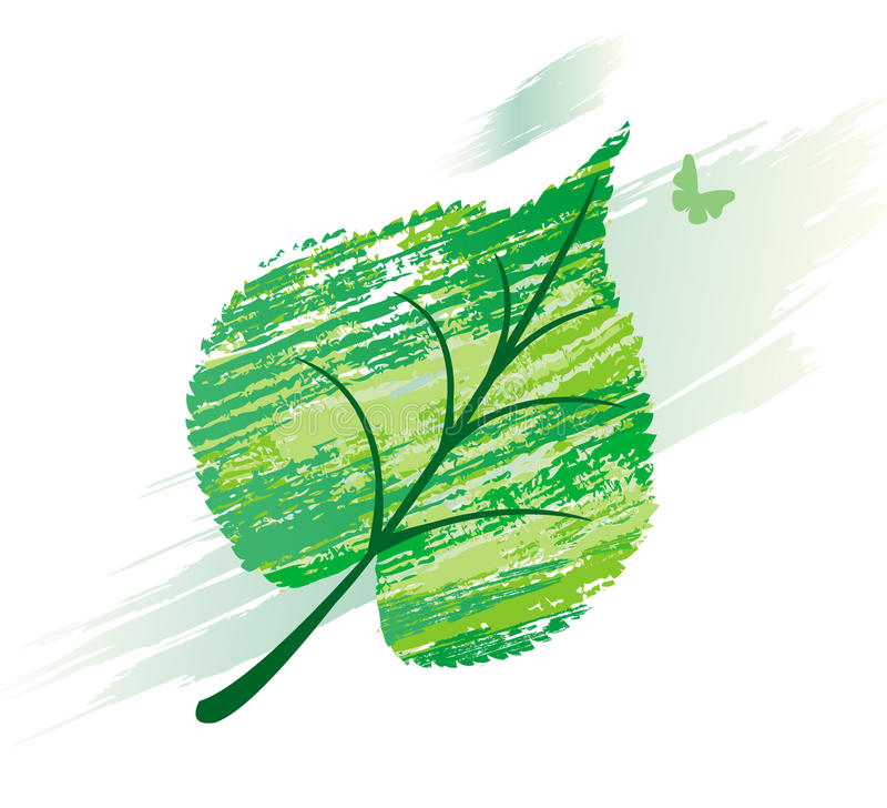 Download Green Leaf From Line Brushes Stock Vector - Image: 10171714