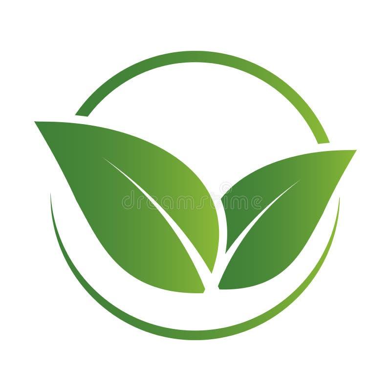 Green leaf logo,ecology nature.Vector illustration. stock illustration