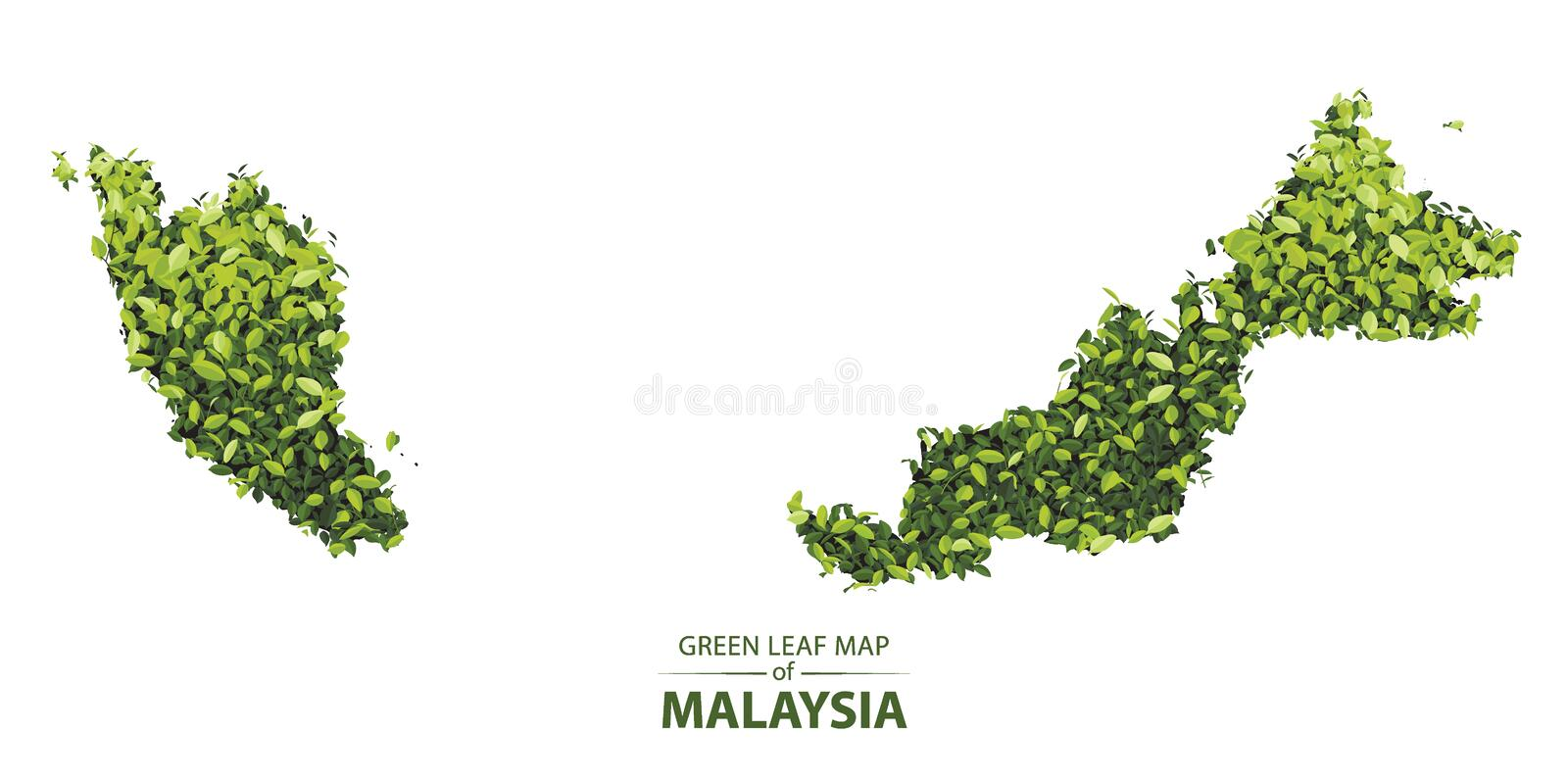 Green leaf map of malaysia vector illustration of a forest is concept royalty free illustration